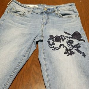 Pilcro and the Letterpress embroidery flower jean